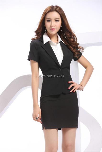 2015 novos primavera verão de manga curta forma as mulheres trabalho desgaste conjuntos carreira ternos de negócio Blazer uniforme com saia Plus Size XXXL
