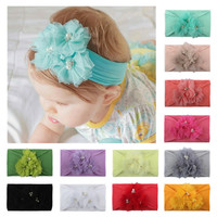 Cute Kids Baby Girls Solid Lace Ribbon Hair Bows Headbands Big Bow Hair Band Accessories Headwear Head Wrap for Toddler