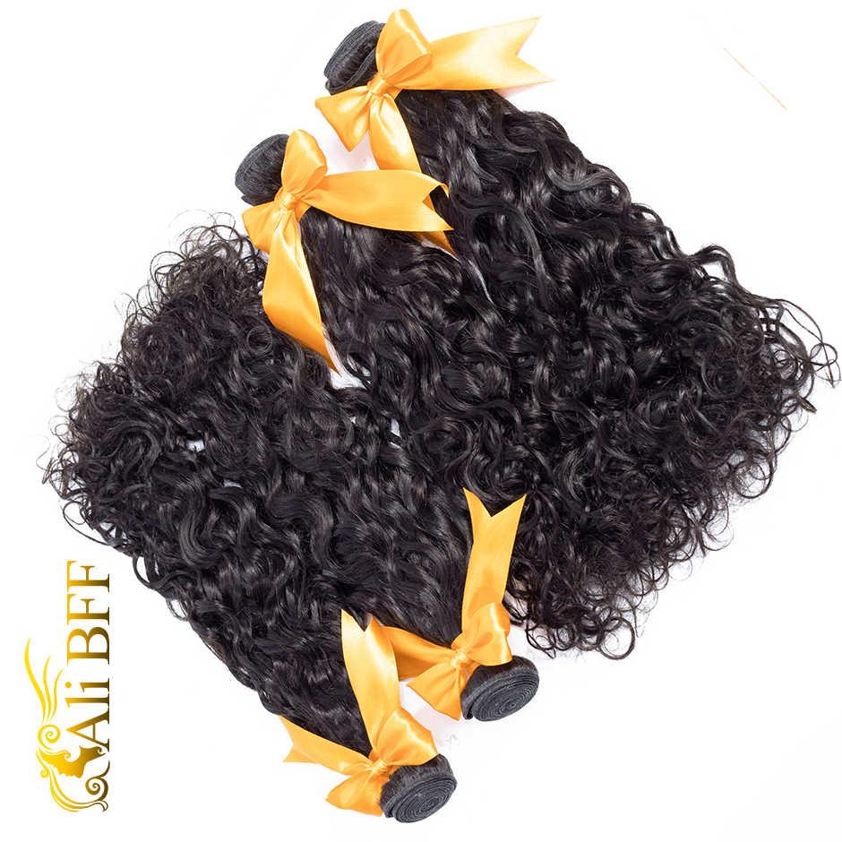 Paquetes de ondas de agua brasileñas ALI BFF cabello humano paquetes de extensiones de cabello de onda de agua Natural 1B # Remy Hair 3 piezas