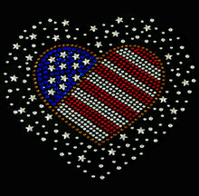 2pc/lot American Flag Heart star Iron On Hotfix Rhiestone Transfer Applique hot fix rhinestone iron on crystal transfers design