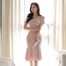 Plus Size Mermaid Dress Women Summer Pink Short Sleeve Knee-length Slash Neck Off the Shoulder Bandage Dress Elegant Club Elbise цена 2017