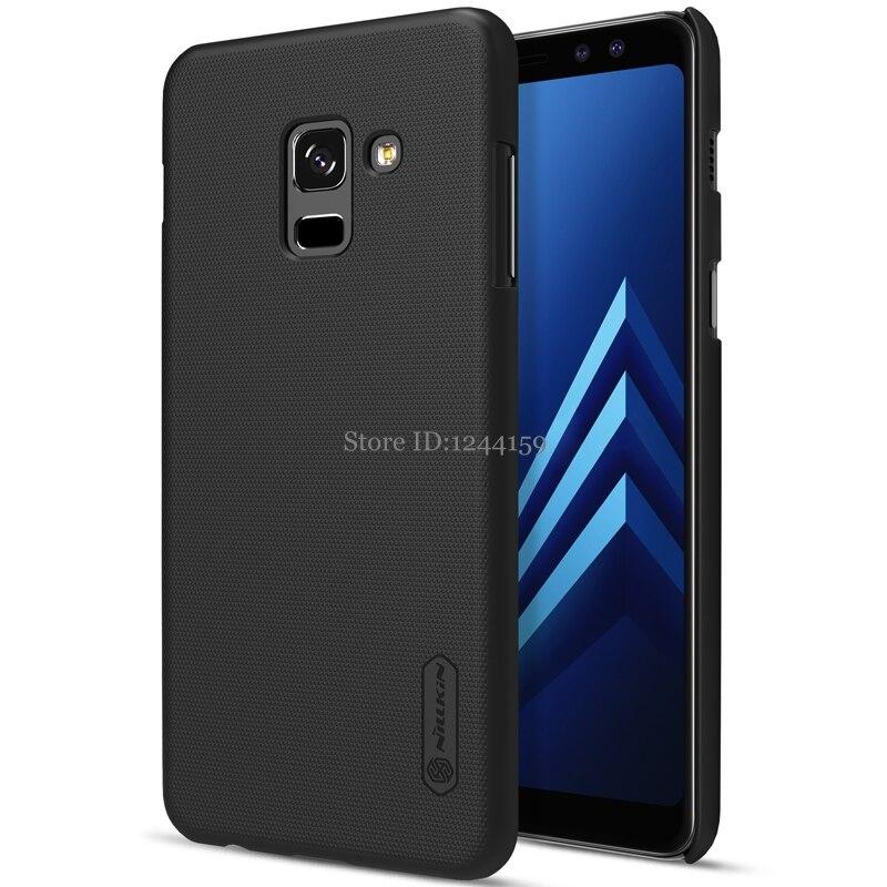 Para Samsung Galaxy A8 Plus 2018 caso capa Nillkin fosco tampa de plástico rígido de volta para o Galaxy A8 + 2018 caso com Presente