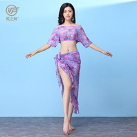 one dance The new spring and summer belly dance outfit skirt Belly dance costumes clothing table printing gauze suits