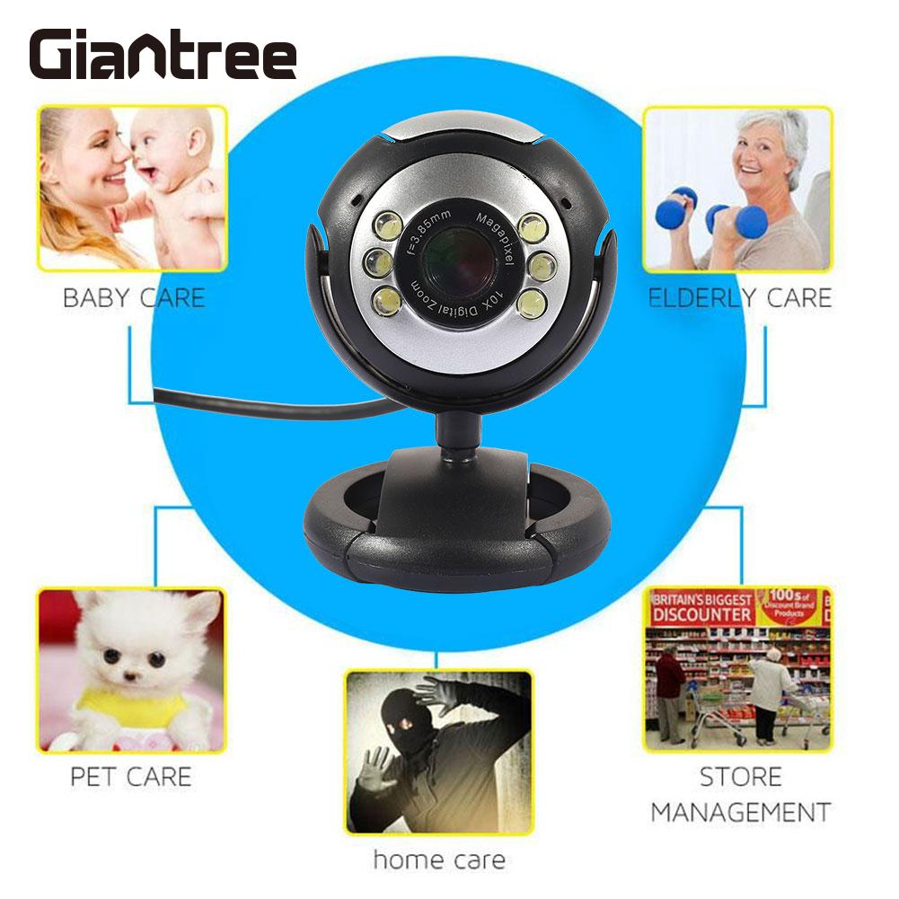 Laptop Webcam 6LED Laptop Universal MINI Camera Black Security Web Camera Desktop 1.3MP