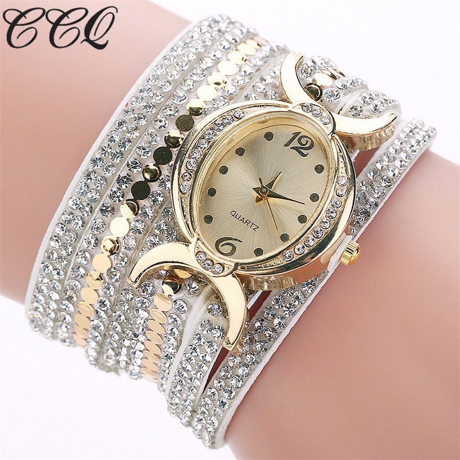 CCQ Brand Women Bracelet Wristwatches Ladies Watch Clock Fashion Gold Rhinestone Quartz Watches For Women Female Girls Gift