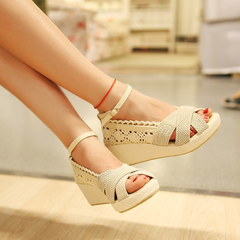 2017 New Arrival Summer Gladiator Women Wedges Woven Cut Out Ankle Wrap Fashion Casual Sandals Shoes Plus Size 34-43 SXQ0611 gladiator women new arrival summer wedges chunky heel ankle wrap fashion casual sandals shoes plus size 34 43 sxq0610