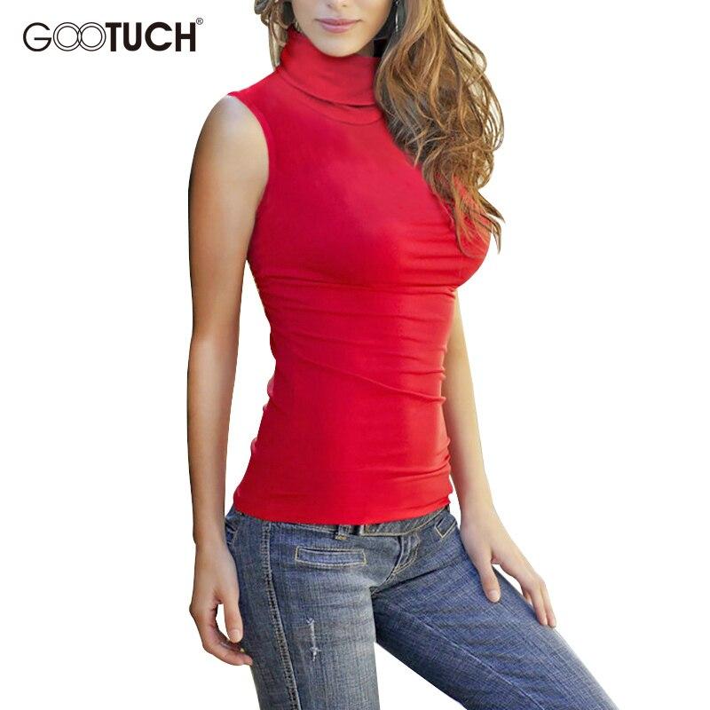 ba43d0083f322d 2018 Summer Women Cotton Mock Neck Top Turtleneck Sleeveless T shirt  Bodycon High Collar Vest Female Plus Size Tee Shirts G 2560-in T-Shirts  from Women's ...