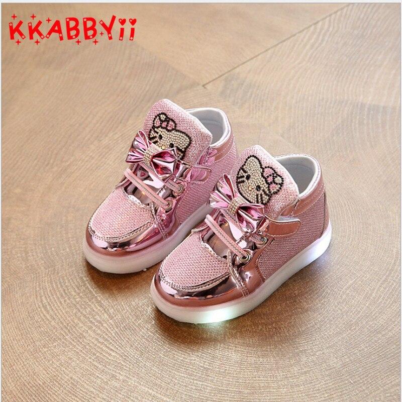 14a84a56a9d Niños Zapatos nueva primavera Hello Kitty rhinestone LED Zapatos Niñas  princesa Linda Zapatos con luz UE 21 30 en Zapatillas de Atletismo de Mamá  y bebé en ...