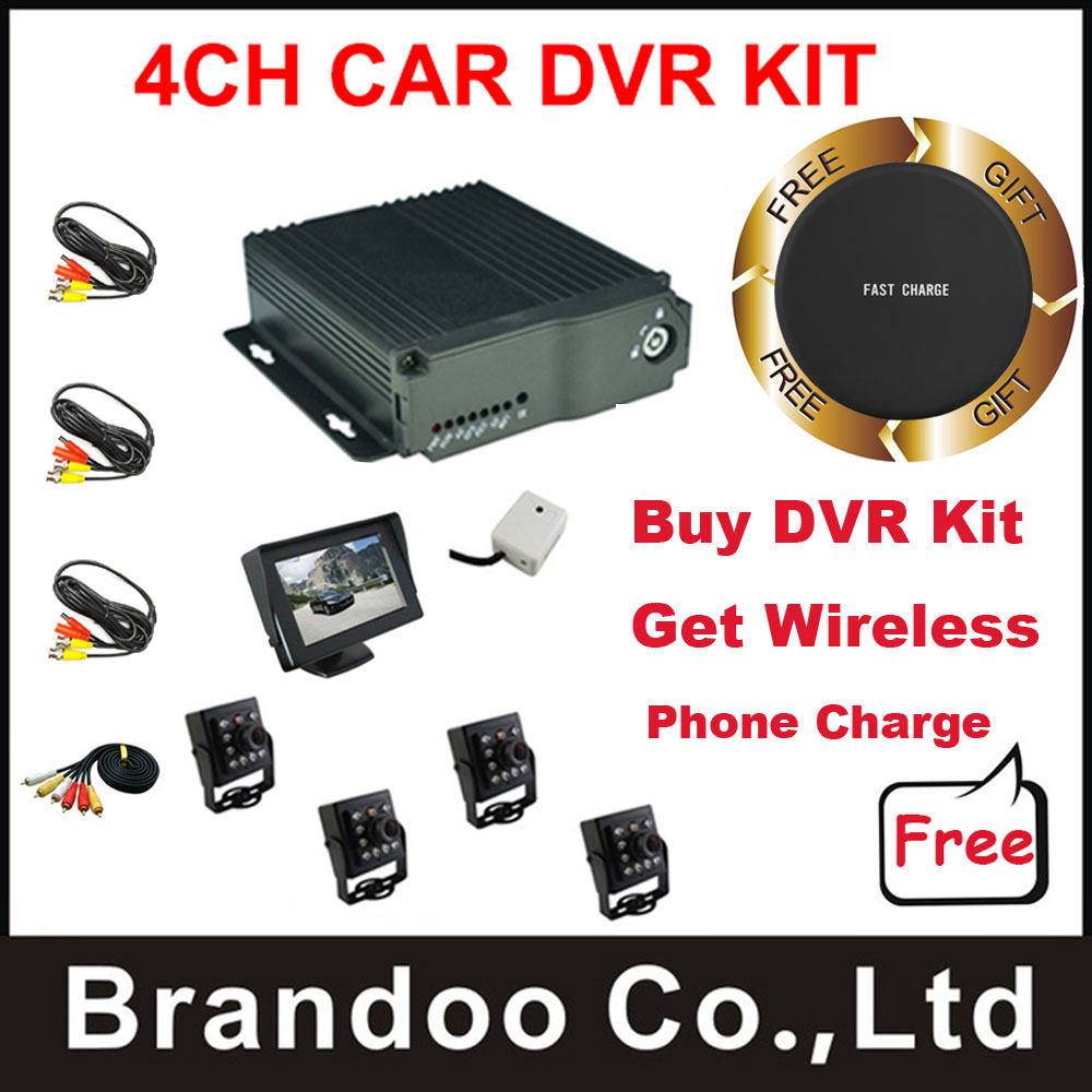 Promotion,4CH D1 Car Mobile vehicle DVR Video Recorder kit, Training car DVR taxi bus DVR kit,support Russian/English menu 4ch d1 sd card mini mobile video surveillance dvr car dvr kit including camera and monitor for taxi vehicle