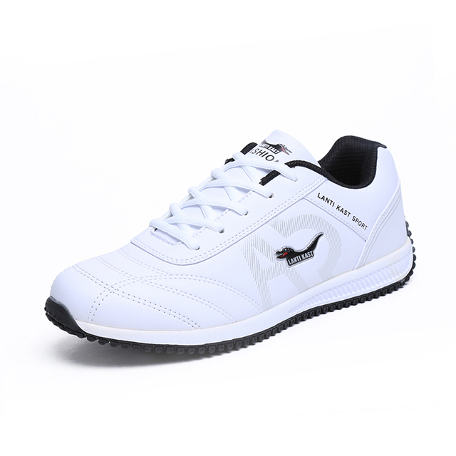07f796097ebd New Men Sports Shoe Leather Waterproof Mens Running Shoe Black White  Running Trainers Mens Spring Autumn Men Shoes Luxury Brand