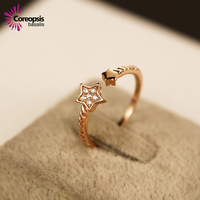 Hot Sale Brand High Grade Fine Stars Star Ring Rose Jewelry Gold Adjustable Rings For Women