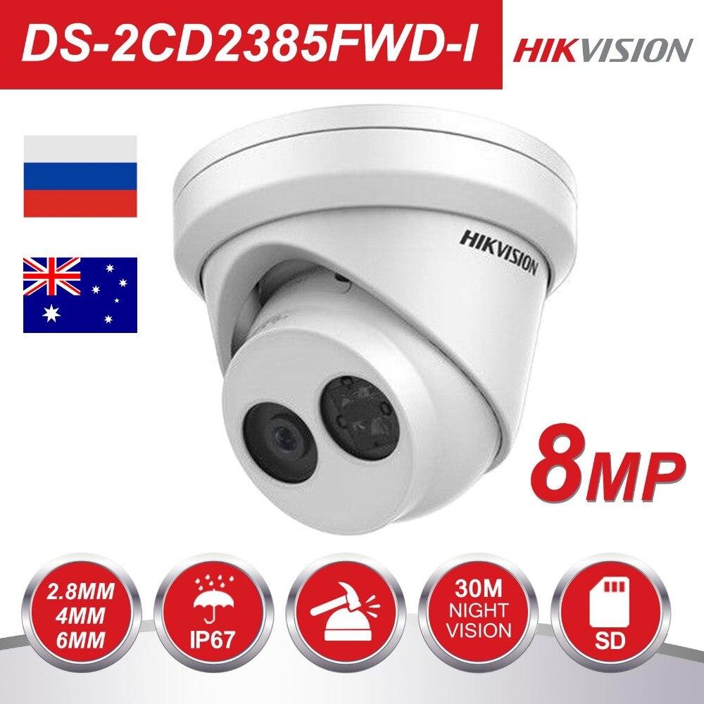 D'origine Hikvision caméra cctv 8MP Réseau Tourelle caméra de sécurité DS-2CD2385FWD-I caméra ip hd intégré SD Slot
