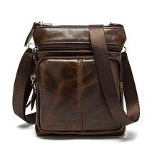Bandolera pequeña con solapa para hombre, Bolsos de cuero auténtico de hombro, bolsos cruzados para hombre, bolso de cuero natural