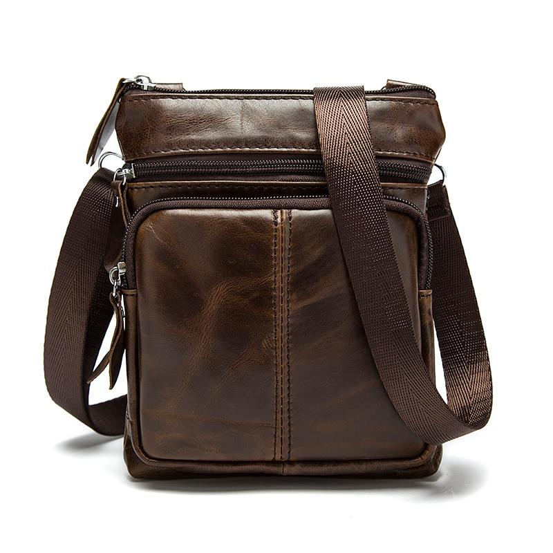 Messenger Bag Men s Shoulder Genuine Leather bags Flap Small male man Crossbody bags for men Innrech Market.com