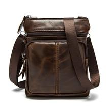 Messenger Bag Mens Shoulder Genuine Leather bags Flap Small male man Crossbody bags for men natural Leather bag