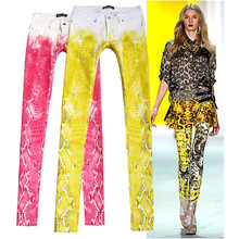 2017 Paris Style Spring Summer Women Printed Colorful Slim Jeans Skinny Stretch Europeans Fashion Street Female Jeans