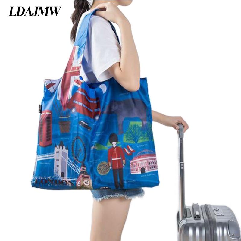 Shoulder Fashion Travel Organizer Convenient Green Bag Storage Folding Light Spring Roll Bag Supermarket Grocery Tote ...