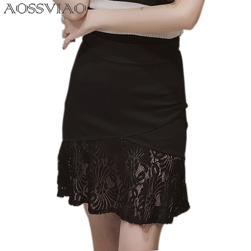 Lace Skirt Women Mermaid Skirt Plus Size Solid Work New Black Slim Stretch Fitted Bodycon Knee Length High Waist Pencil Skirts