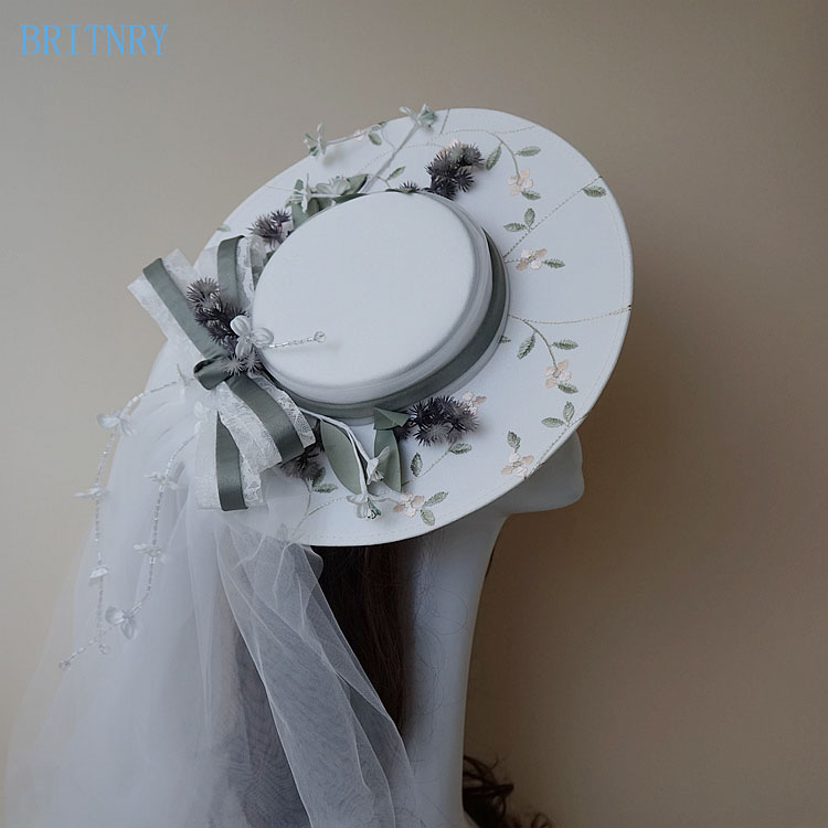 BRITNRY New Arrivals Wedding Hat Korea Style Elegant Tulle Beading Fascinator Hats For Wedding Embroidery Bridal Hat