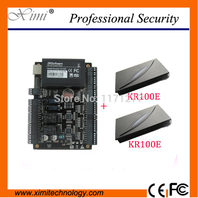 Good quality TCP/IP Network ZK C3-200 Intelligent Two-door Two-Way Access Control Panel + 2PCS KR100E RFID Reader