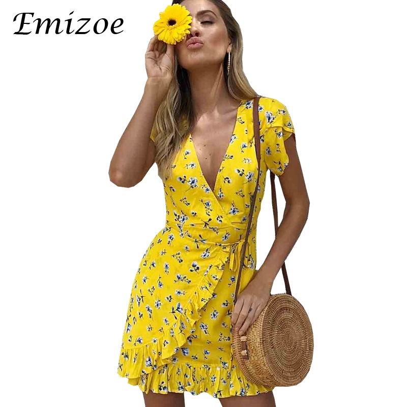 3efe3fb964a Emizoe Print ruffle floral yellow wrap dress 2018 Summer short boho beach  dress women vestidos Slim new v neck dress