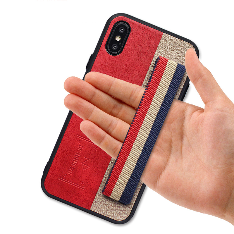 Phone case for iPhone 7 8 Plus X Cover Leather Contrast Color for iPhone 6 6s 5 5s with Wristband Stitching half-wrapped Fundas
