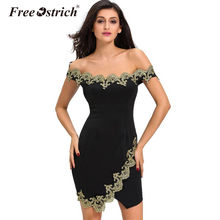 Free Ostrich 2017 Vintage Elegant Party Robes Gold Lace Applique Off  Shoulder Dress Feminine Vestido De Festa Oct4 867d9ddf3ac1