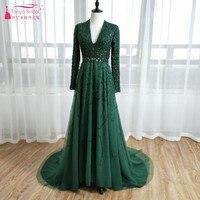 Темно зеленый V образным вырезом одежда с длинным рукавом великолепные платья выпускного вечера сексуальная спинки Линия Формальное вечер