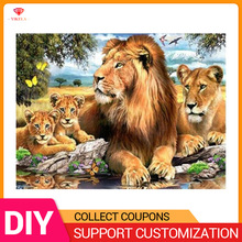 5D Diy Animal Lion Family Cross Stitch Embroidery Crystal Diamond Mosaic