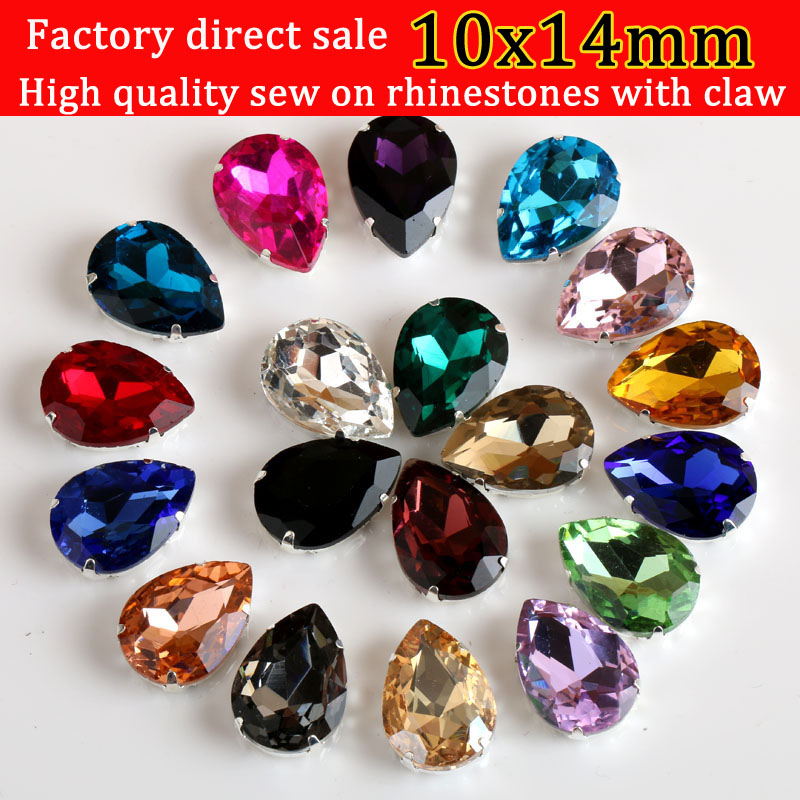 Drop shap Sew On claw Rhinestone, crystal glass Rhinestones apply to Clothing Decoration 20pcs/pack 10X14mm