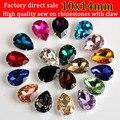 Drop shap Sew On claw Rhinestone, crystal glass Rhinestones apply to Clothing Decoration 20pcs/pack 10X14mm