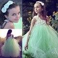 2017 Meninas Vestidos de Baile Bonitas Uma Linha Vintage Mint Um Ombro Da Menina de Flor Vestidos com Flores Feitas À Mão Até O Chão Tule
