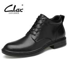 CLAX Mens Leather Boots 2019 Spring Autumn Male Black Ankle Boot Genuine Leather Man Shoes Dress Walking Footwear Big Size clax men s ankle boots genuine leather casual shoes male 2018 spring autumn leather boot soft comfortable walking footwear
