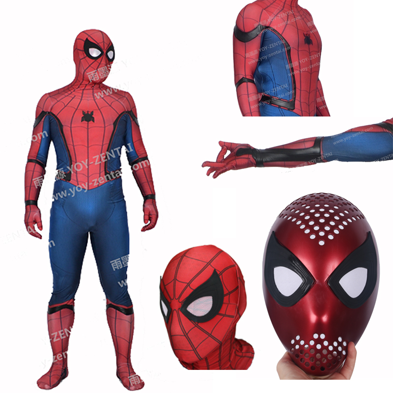 MovieCoser Best Quality New 3D Print Civil War Spider Man Costume With Faceshell Tom Holland Spiderman Costume Adult Spandex