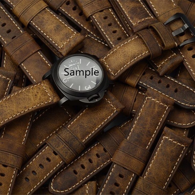 TJP Top Quality 22mm 24mm Retro Brown Vintage Italy Calf Leather Watchband Replace PAM PAM111 PAM441/Panerai Pilot Watch Strap