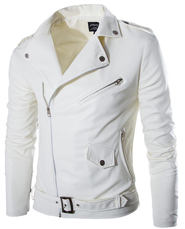 Popular Mens White Leather Motorcycle Jacket-Buy Cheap Mens White ...
