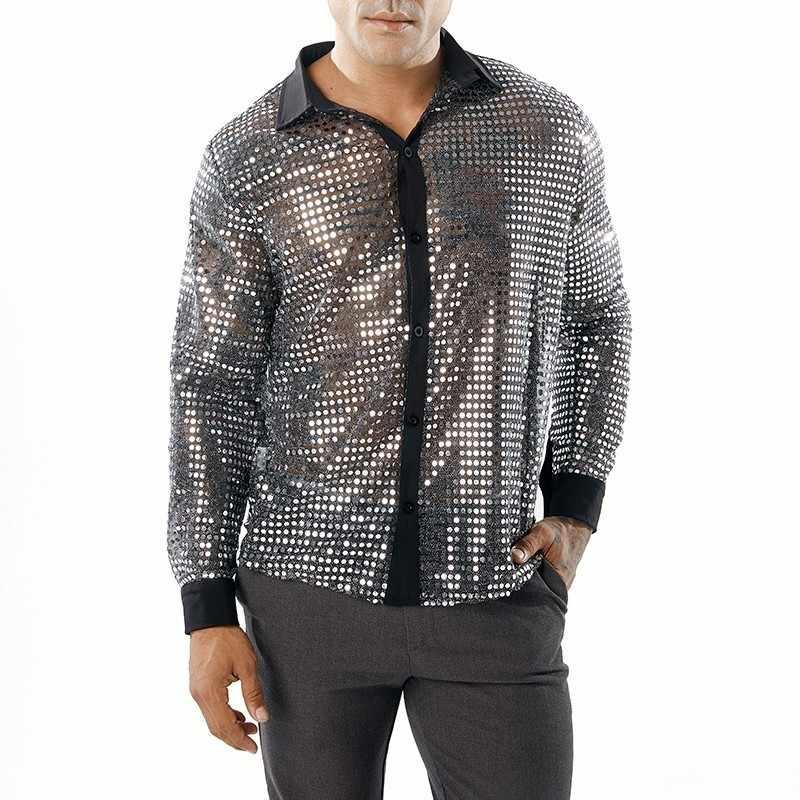 2018 Новая мужская сексуальная прозрачная рубашка с блестками черная прозрачная рубашка мужской длинный рукав ночной клуб блестящая золотая рубашка S-2XL