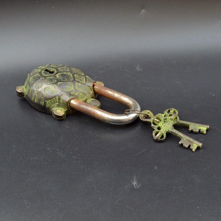 Tortue de longévité en forme de tortue de la dynastie Qing, ancienne serrure en bronze, collection antique, artisanat décoratif