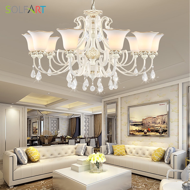 9019 Klassischen Europäischen Luxus Weiß Harz Milchglas Schatten Führte  Kristall Kronleuchter Schlafzimmer Wohnzimmer Kronleuchter