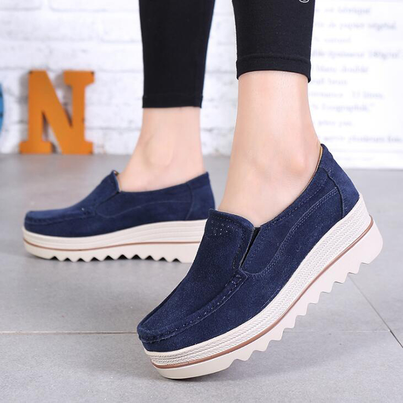 New 2019 spring women flats platform   suede   shoes women sneakers   leather   moccasins flats heels creepers shoes size 35 - 42