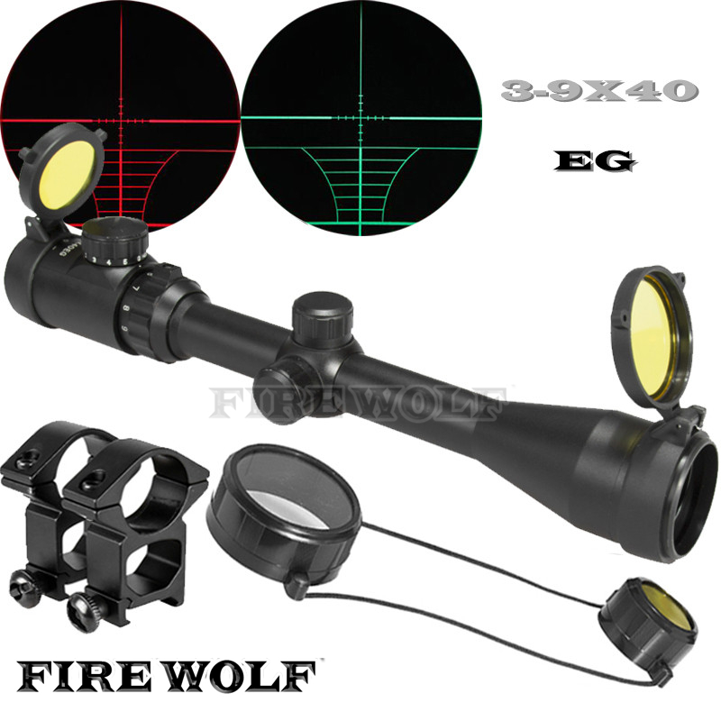 FIRE WOLF 3-9x40 EG Hunting Scope Reticle Sight Optics Sniper Deer Tactical Hunting Scope Tactical Riflescope With Yellow Cover цена