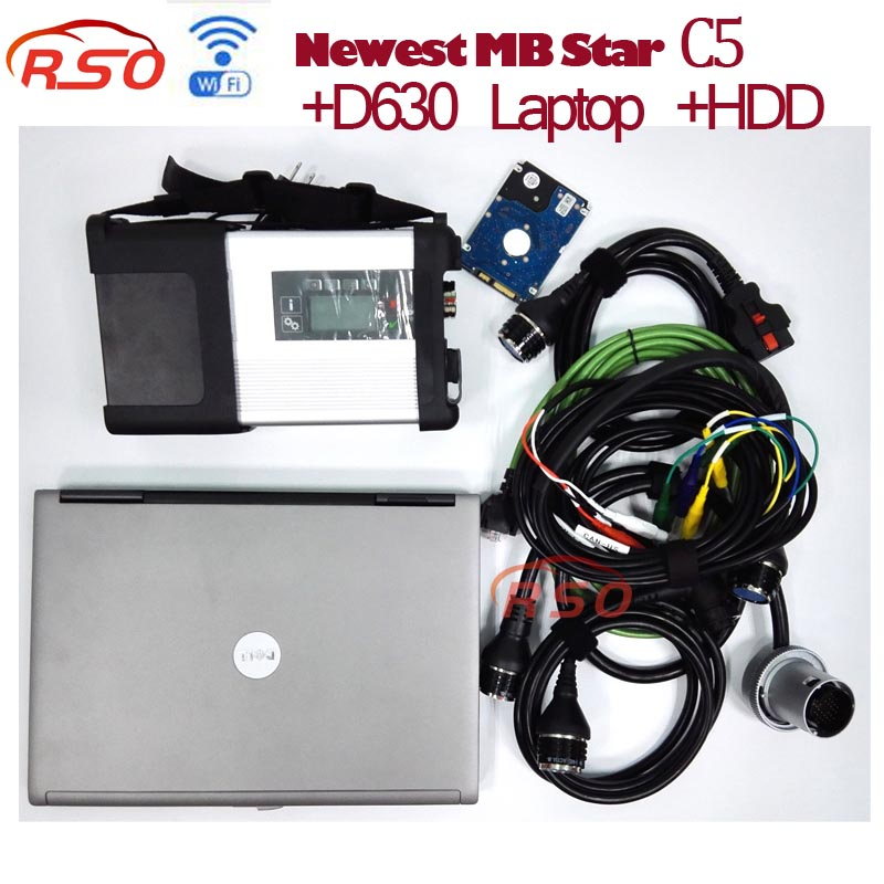 2018.05 MB Star C5 with HDD and Laptop D630 for cars Diagnosis C5 SD Connect Support Wireless Connection free ship