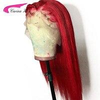 Карина Реми красный парик их натуральных волос 13X6 синтетические волосы на кружеве парик глубокая часть 130 Плотность синтетические волосы н