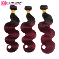 DreamDiana Ombre Brazilian Bodywave Hair 3 Bundles Remy Two Tones Meche Bresilienne Burgundy Red Wine Color Ombre Human Hair