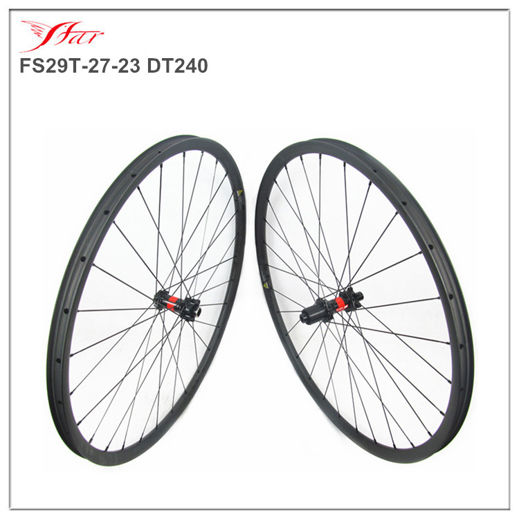 MTB carbon clincher wheels 27mm wide 23mm deep hot selling 29er mountain wheels for mountain bicycle 28H spoke holes
