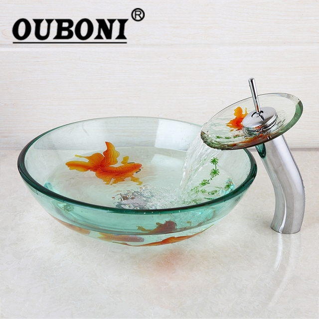 OUBONI Tempered Bathroom Glass Vessel Sink U0026 Chrome Waterfall Brass Faucet  Combo Glass Special Designer Sink
