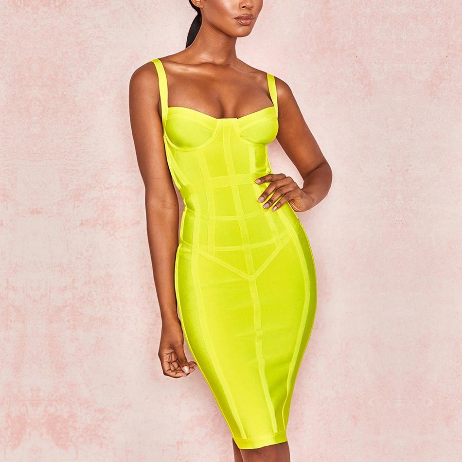 ADYCE 2019 New Summer Women Bodycon Bandage Dress Sexy Spaghetti Strap Sleeveless Club Dress Midi Celebrity
