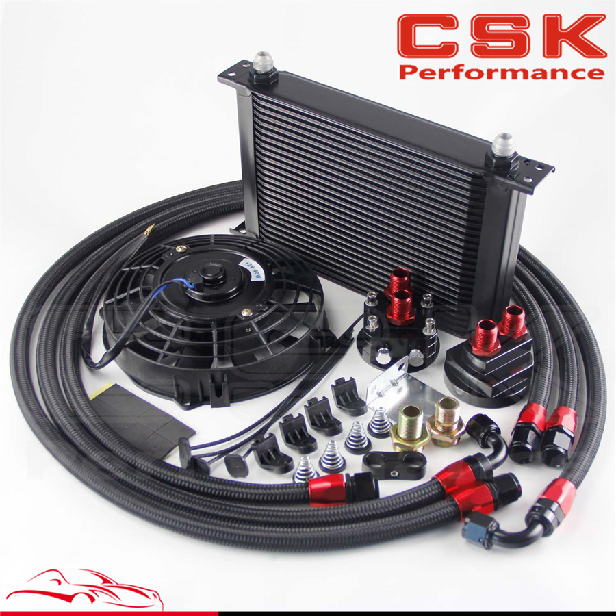 25 Row AN8 Engine Oil Cooler /Filter Relocation hose + 7 Electric Fan Kit BK image