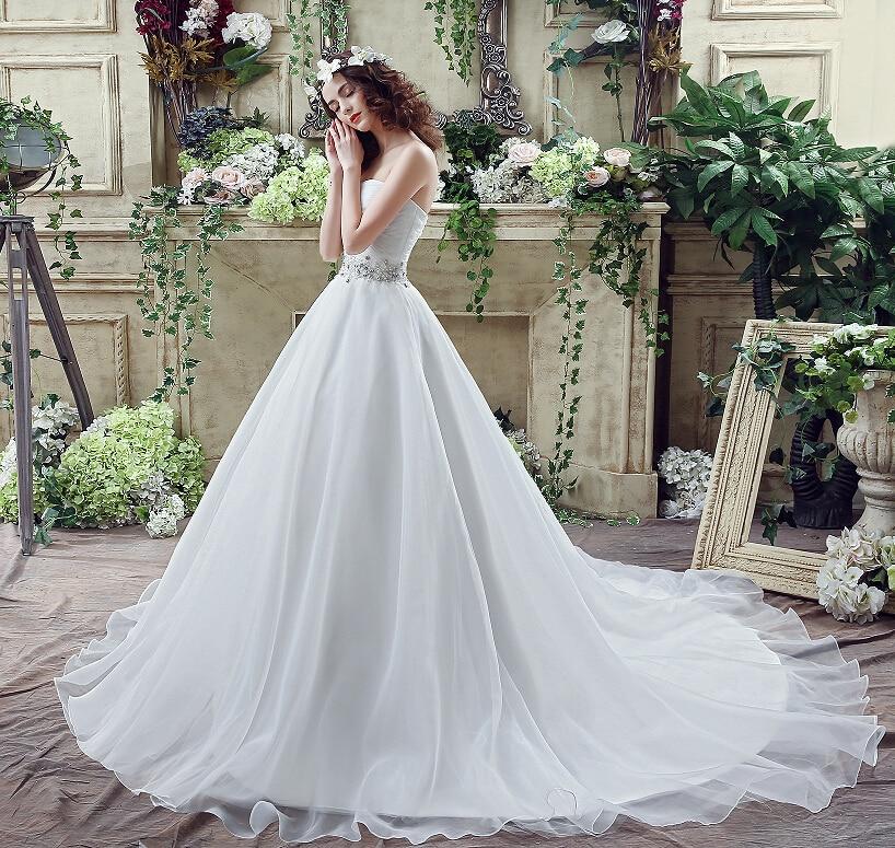 Romantisk Plus Storlek Bröllopsklänning Vit / Ivory Sweep Train - Bröllopsklänningar - Foto 3