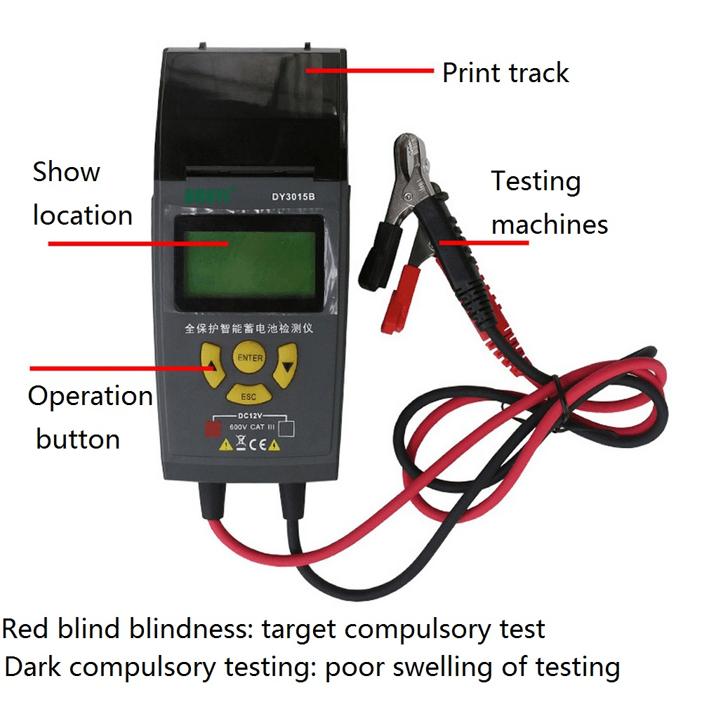 Testeur de batterie de voiture 12V 24V testeur de batterie automobile numérique et de système électrique avec outil de Diagnostic de voiture d'imprimante